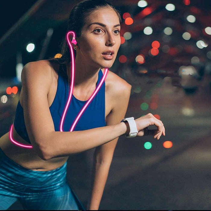 Power 4 Glowing Sports Wired Earbuds: Hot Pink