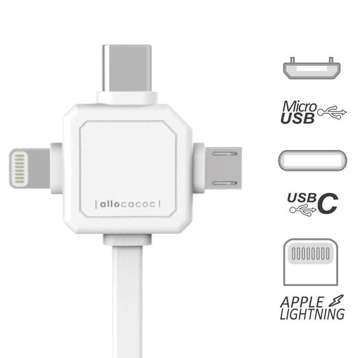 Allocacoc USB Cable - 3 Connectors: Micro USB, Type C, Lightening (Pink) 12 month warranty applies Allocacoc