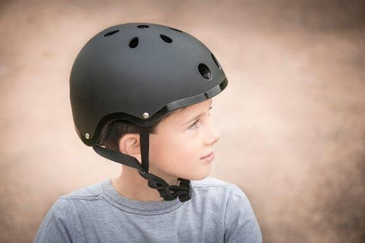 Mini Hornit LIDS Children's Bicycle & Scooter Helmet with Flashing Safety Lights - STEALTH BLACK Style
