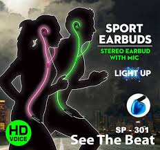 Light Grooves Sports Earbuds : Earphones that light up & flash to the beat NEON GREEN 12 month warranty applies Tech Outlet
