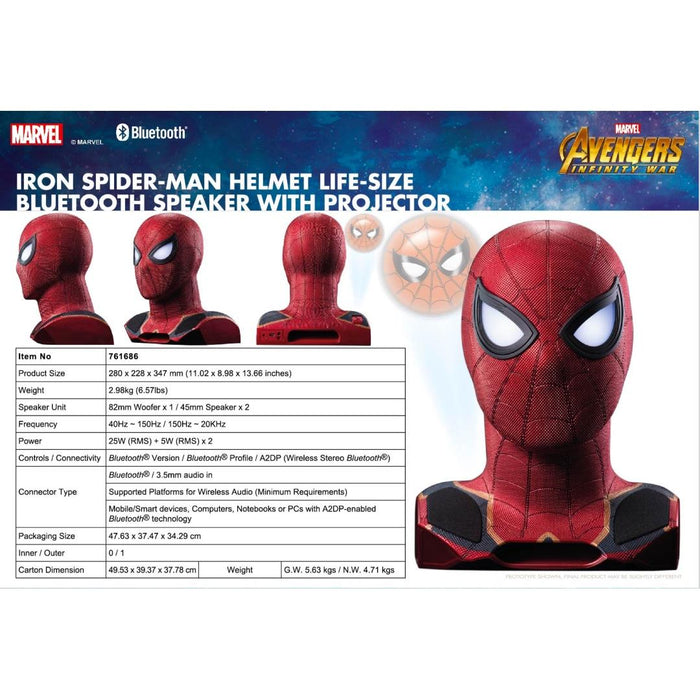Avengers Spider Man Life size Bluetooth Speaker - Marvel 12 month warranty applies Tech Outlet