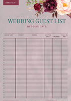 Marsala Wedding Guest List Template