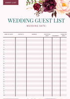 Simple Wedding Guest List Template