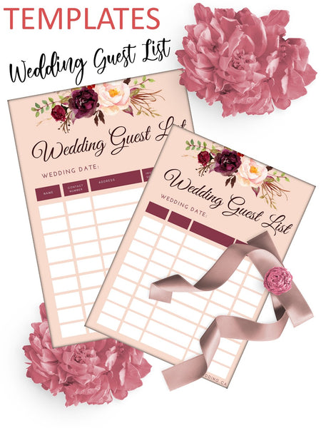 Elegant Marsala Wedding Guests List