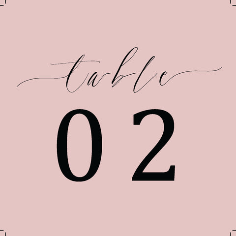 Black and Blush Table Number Freebie