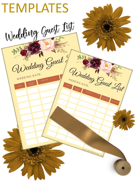Rays of Sun Wedding Guests List
