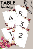 Red Wine Theme Table Numbers
