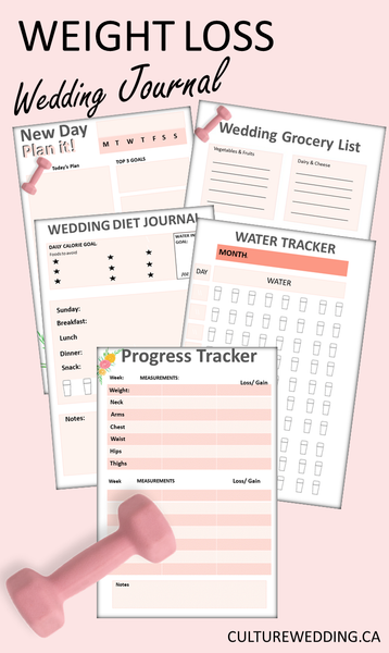 Wedding Weight Loss Journal Printable Kit