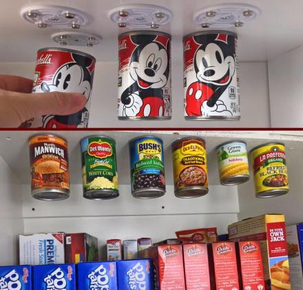 Magnetic Canned Food Hangers Save Space In Your Pantry