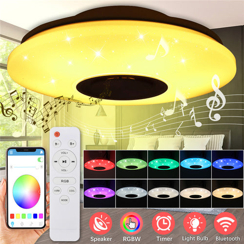 Modern Music ceiling lamp Dimmable APP/Remote Control 48W Living room bedroom AC180-240V bluetooth speaker lighting Fixture Set