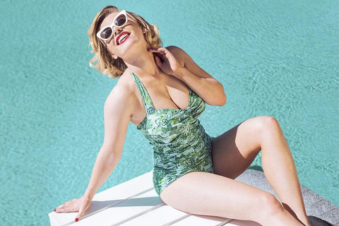 Sirens Swimwear Grace Classic | Wallpaper Green S18-Garc-GRN-08