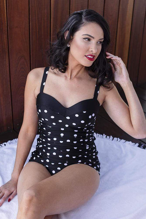 Sirens Swimwear Mindy Tankini Bottom | Black Retro Spot S17-Mind-BRS-B08