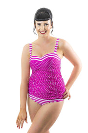 Sirens Swimwear Mindy Tankini Bottom | Fuchsia Stripe S17-Mind-FST-B08