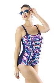 Sirens Swimwear Monica Frill | Chevron Sunset S17-Moni-SUN-08
