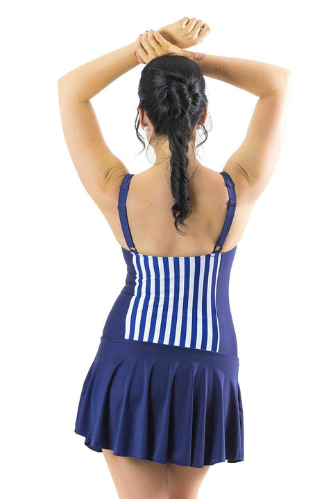 Sirens Swimwear Shelly Swim Dress | Sailing Stripe & Navy Swell S17-Shel-SAI-08