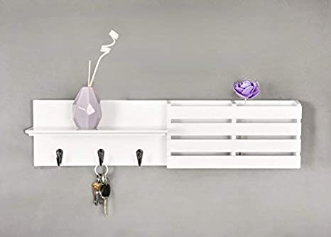 "LuxiPlus Mail Holder and Coat Key Rack Wall Shelf with 3 Hooks, 24"" x 6"", White"