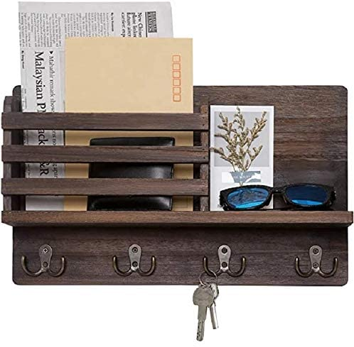 Wall Key/Mail Organizer with Key Hooks and Bibb Mail Storage