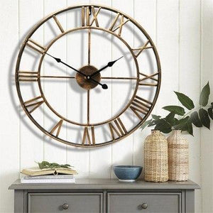 "Wall Clock, 18.5"" Round Oversized Centurian Roman Numeral Style Home Décor Analog Black Metal Clock"