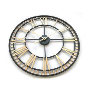 "24"" Round Oversized Roman Numeral Style Home Décor Analog Black Metal Clock"