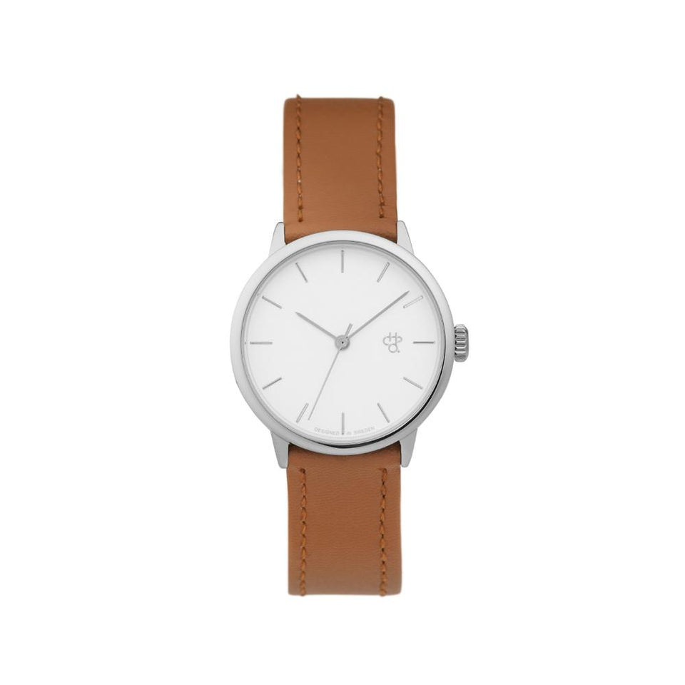 KHORSID MINI SILVER | Silver/Brown Vegan Leather Strap