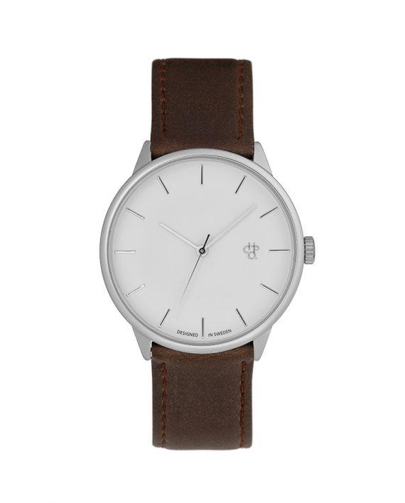 KHORSID SILVER | Silver/Brown Vegan Leather Strap