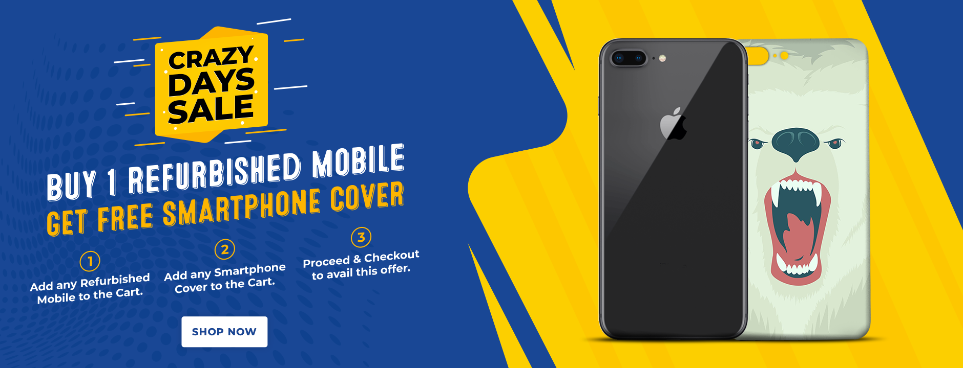 Cashify Store Crazy deal Days - Buy one refurbished mobile and get FREE smartphone cover