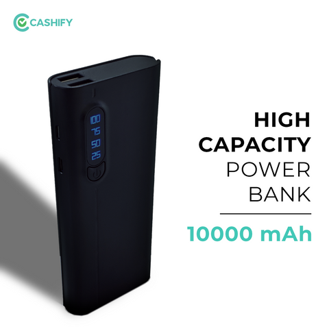 Cashify Power Bank - 10,000 MAh with Digital Display - Black