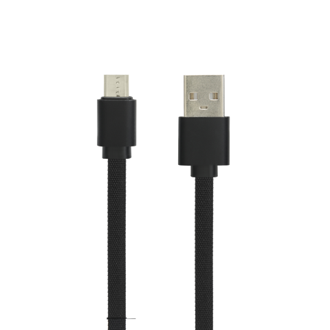 Cashify Flat Braided Micro USB Type Cable with Metal Cap - Black