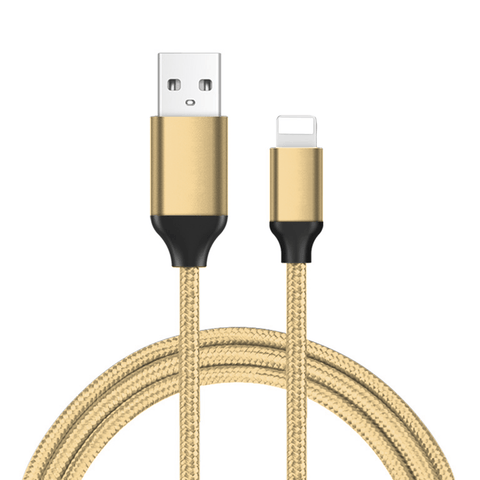 Premium Silk-braided Lightning-type Cable - Gold