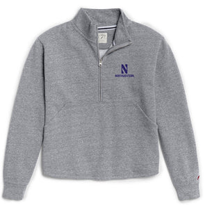 Northwestern Wildcats Ladies Victory Springs Zip Pullover-Grey