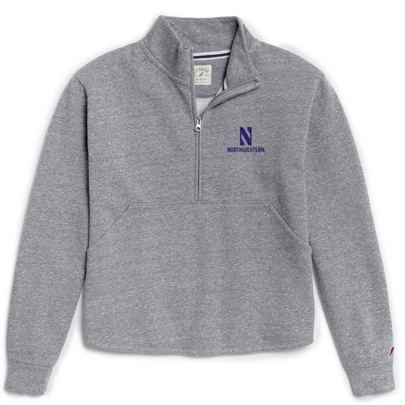 Northwestern Wildcats Ladies Victory Springs Zip Pullover Sweatshirt-Grey