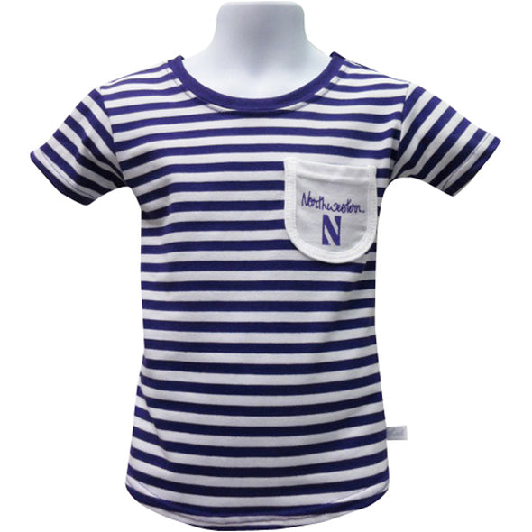Northwestern Wildcats Girls Stripe Front Pocket T-Shirt