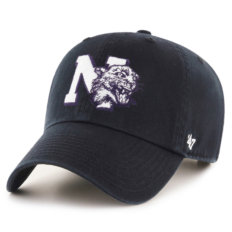 Northwestern Wildcats Banner '47 Black Clean Up Hat