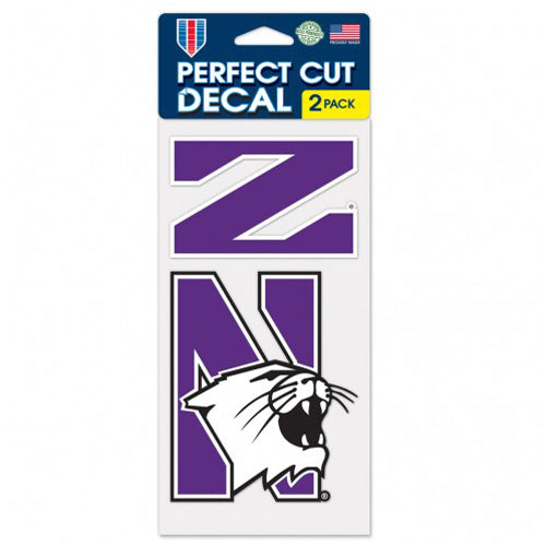 "Northwestern Wildcats Perfect Cut Decal Set Of Two 4"" x 4"""