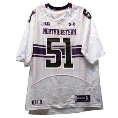 Northwestern Wildcats Under Armour® Adult White Replica #51 Football Jersey