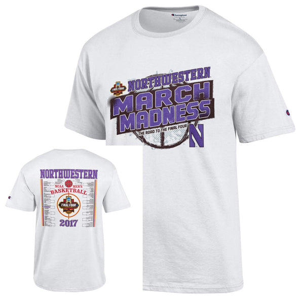 Northwestern Wildcats 2017 Bracket Basketball T-Shirt - Short Sleeve