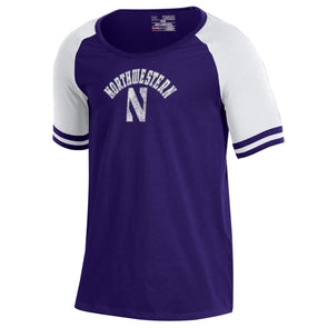 Northwestern Wildcats Under Armour® Youth Girls Stripe Sleeve Baseball T-Shirt