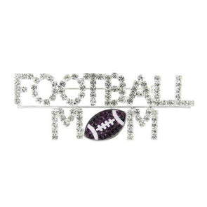Northwestern Wildcats Football Mom Brooch Pin with Purple Crystals