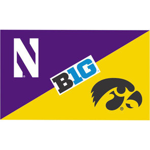 Northwestern Wildcats House Divided Flag Northwestern/ Iowa