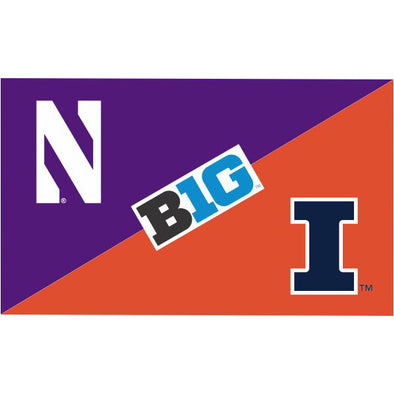 Northwestern Wildcats House Divided Flag Northwestern/ Illinois