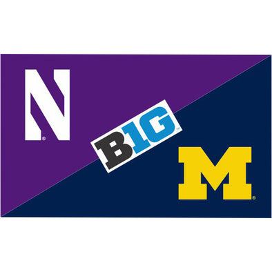 Northwestern Wildcats House Divided Flag Northwestern/ Michigan