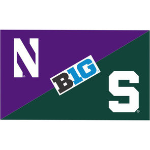 Northwestern Wildcats House Divided Flag Northwestern/ Michigan State