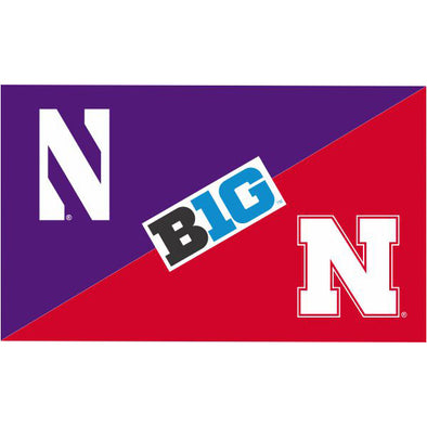 Northwestern Wildcats House Divided Flag Northwestern/ Nebraska