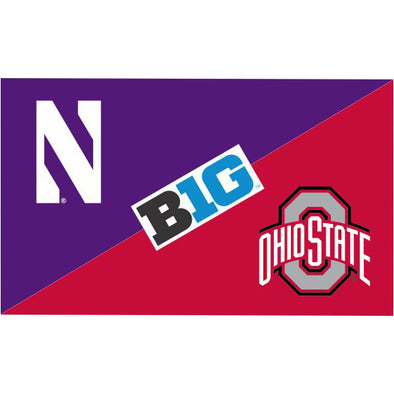 Northwestern Wildcats House Divided Flag Northwestern/Ohio State