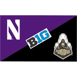 Northwestern Wildcats House Divided Flag Northwestern/ Purdue