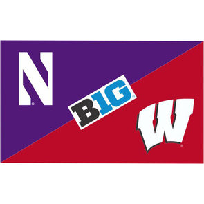Northwestern Wildcats House Divided Flag Northwestern/Wisconsin