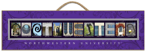 Northwestern Wildcats Campus Letter Art Plaque