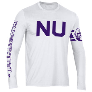 Northwestern Wildcats Under Armour College Football  150th Anniversary Long Sleeve Retro Football Tee