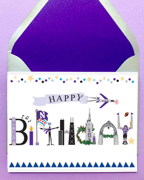 Northwestern Wildcats Chicago Birthday Card