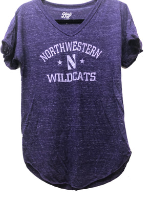 Northwestern Wildcats Ladies Confetti V-Neck T-Shirt